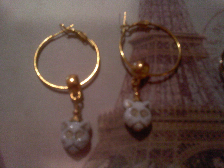 Grumpy cat euro beads earrings