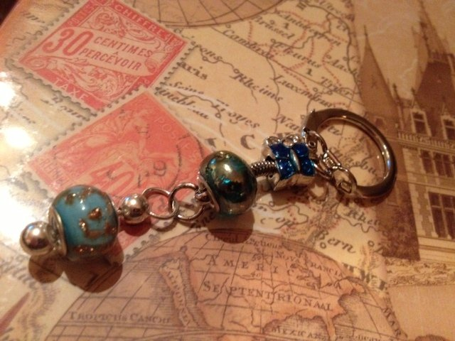 Blue butterfly euro beads keychain