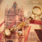 Golden tone Rose euro beads keychain