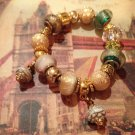 Gold tone Rose euro beads bracelet