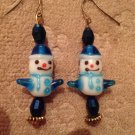 Blue snowman earrings