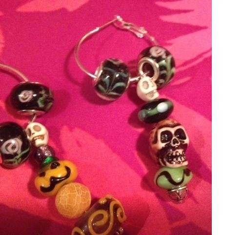 Euro beads halloween dangles earrings