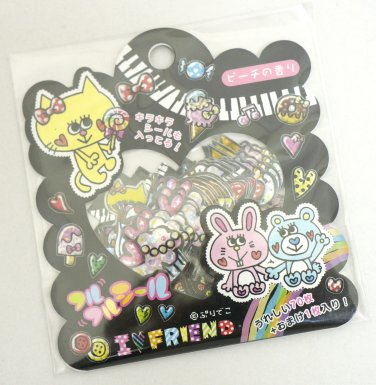 Q-lia I Love Friend Cat Rabbit Sticker Sack, kawaii