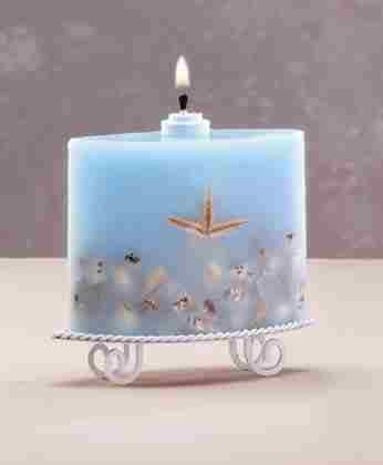 Wax Oil Lamp with Seashells