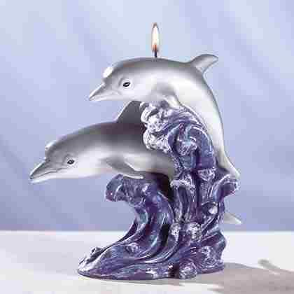 Double Dolphin On Wave Candle