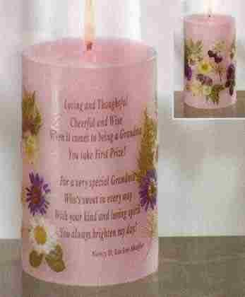 Grandma Candle With Dried Flowers