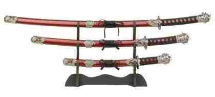 Samurai Swords with Wood Stand Set