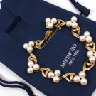 "Vintage Authentic MIKIMOTO 14K Gold 6X6.5mm A+ Pearl Bracelet 7-7/8"" with papers Retail $2600"