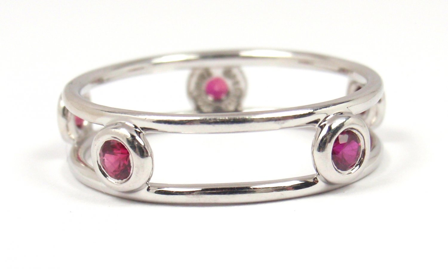 Tiffany & Co Peretti Platinum 950 Color By the Yard Double Wire Ruby Ring Size 8-1/4