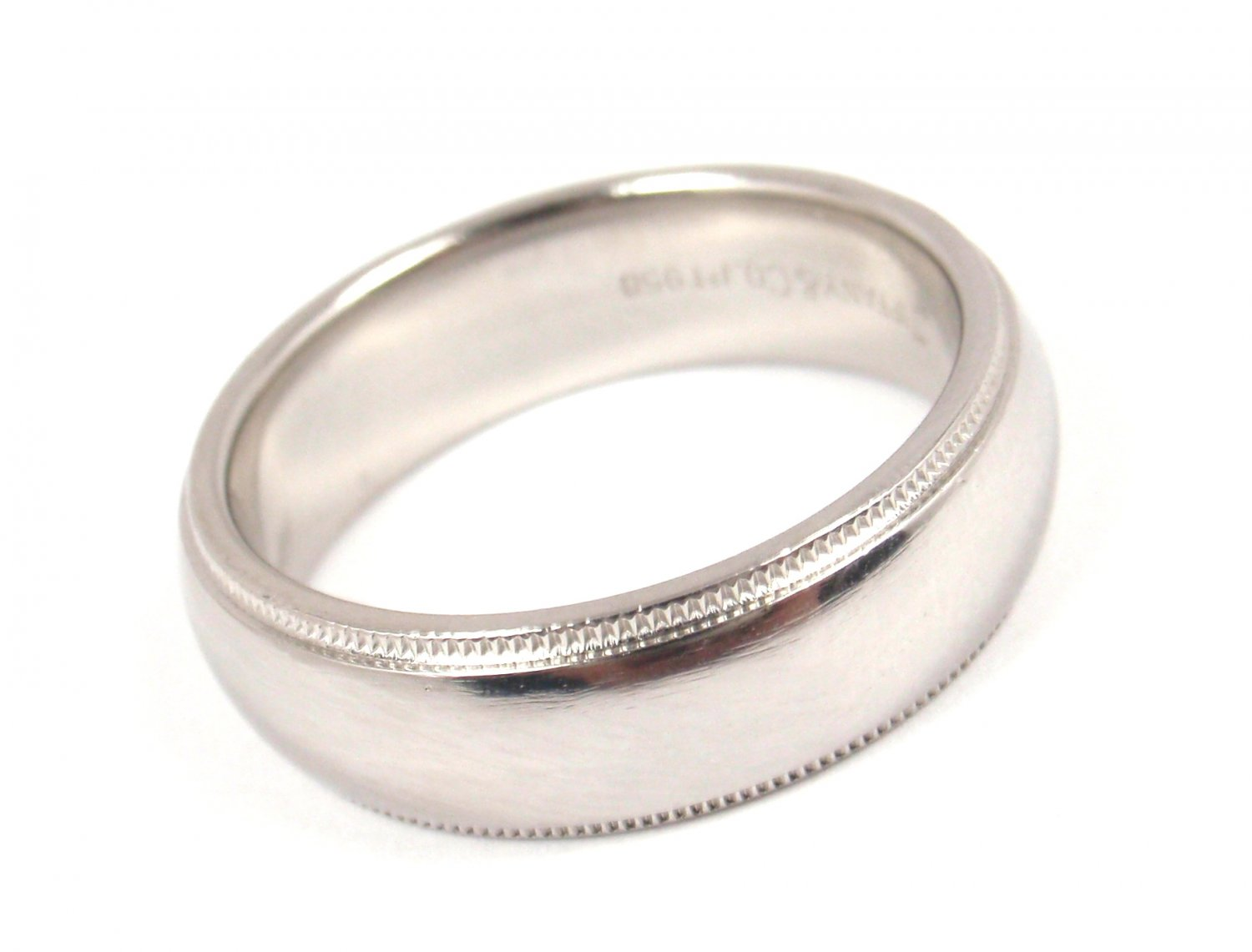 Tiffany & Co 6mm Platinum Milgrain Wedding Band Ring Size 8 Retail $3160