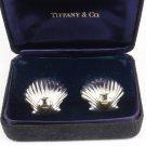 Vintage Tiffany & Co Sterling Silver 18K Gold Blue Sapphire Shell Earrings
