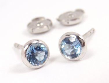 Tiffany Co Peretti Platinum Color By The Yard Aquamarine Stud Earrings W Box