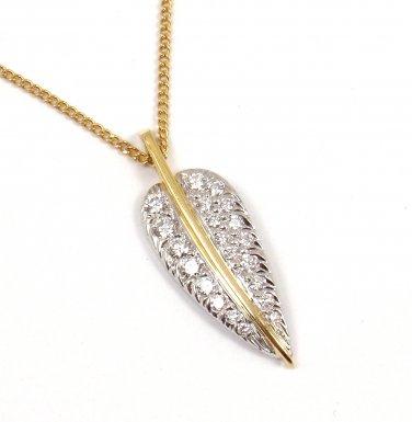 Rare Vintage Tiffany Cummings Platinum 18K Gold Diamond Feather Leaf Necklace
