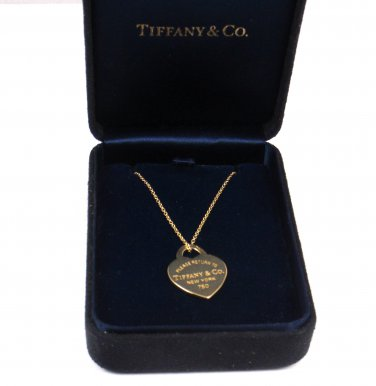 "Return To Tiffany & Co 18K Yellow Gold Heart Charm Pendant Necklace 16"" with box"