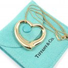 $2750 Tiffany & Co Peretti XLarge 18K Gold 35mm Open Heart Pendant Necklace 12.7g
