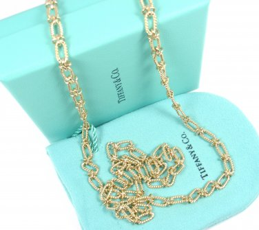 """Mint! Rare Vintage Tiffany & Co 14K Yellow Gold Link Chain Necklace 32.5"""""""