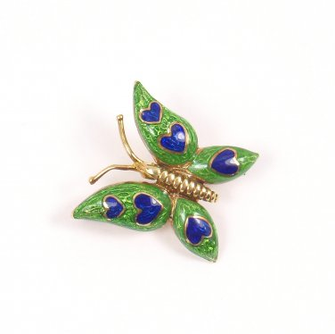 RARE Antique Tiffany & Co 18K Yellow Gold Enamel Butterfly Pin Brooch