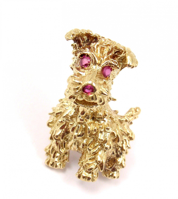 RARE Vintage Tiffany & Co 18K Gold Dog Ruby Eyes Textured 3D Pin Brooch ITALY