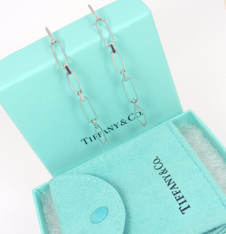 Rare Tiffany & Co 18K White Gold X-Long Paper Clip Drop Dangle Earrings w/box