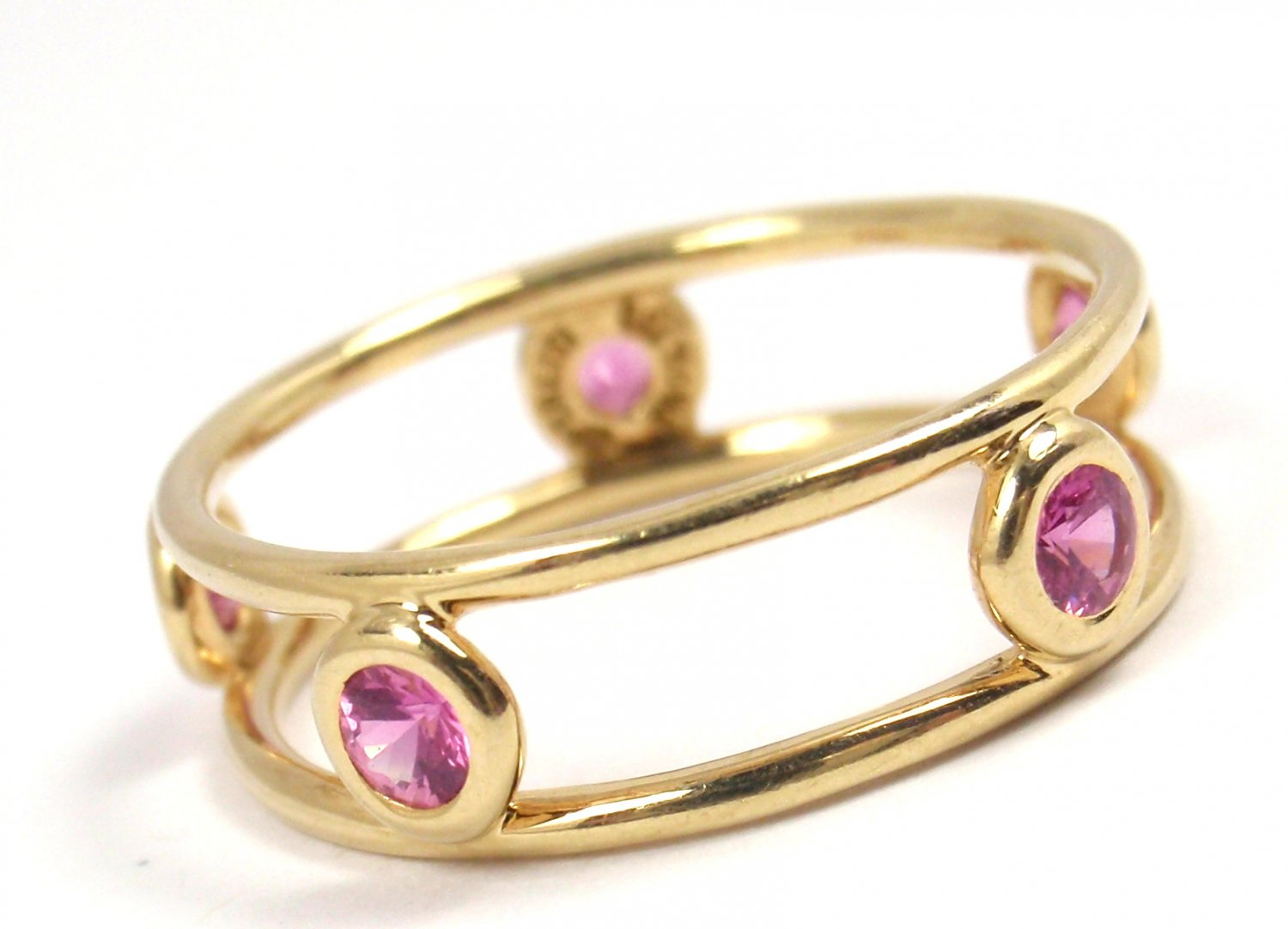 Tiffany & Co Peretti 18K Gold Color By the Yard Double Wire Pink Sapphire Ring Size 6