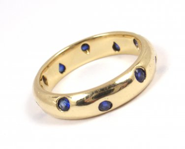 Rare Vintage Tiffany & Co Etoile 18K Yellow Gold Blue Sapphire Eternity Band Ring Size 5-3/4