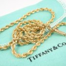 "Mint! Rare Vintage Tiffany & Co 14K Yellow Gold Rope Chain Necklace 18"" w/pouch"