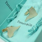 Rare Vintage Tiffany & Co. 14K Yellow Gold South America Shaped Cufflinks w/box