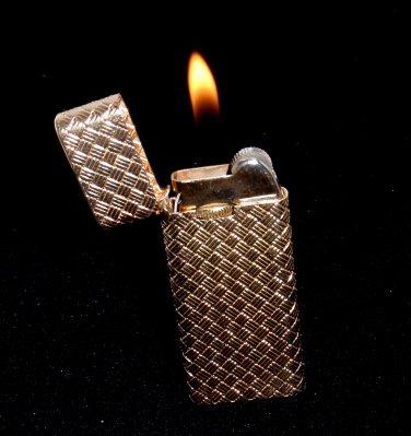 Rare Vintage Tiffany & Co Solid 14K Gold Basket Weave Cigarette Lighter w/pouch