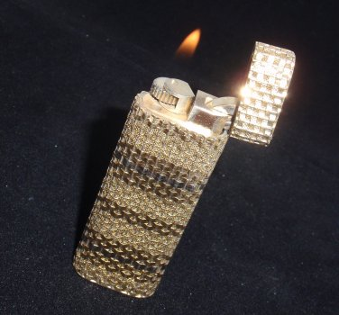 Rare Vintage Authentic Cartier Solid 18K Gold Basket Weave Cigarette Lighter