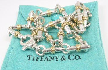 """RARE Vintage Tiffany & Co Sterling Silver 18K Gold Bar Link Necklace 16"""" ITALY with pouch"""