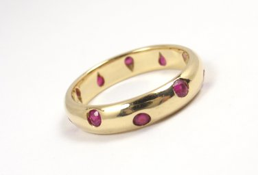 Rare Vintage Tiffany & Co Etoile 18K Yellow Gold Ruby Eternity Band Ring Size 4