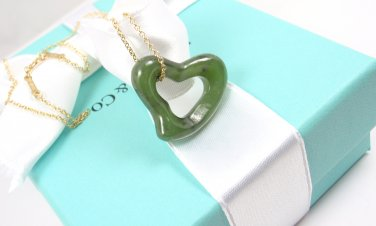Rare Tiffany & Co Peretti 18K Gold LARGE 23mm Green Jade Open Heart Chain Necklace