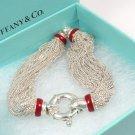"Rare Vintage Tiffany & Co Sterling Silver Red Enamel Lifesaver Mesh Bracelet Italy 7"""
