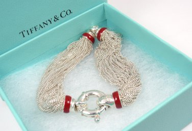 Rare Vintage Tiffany & Co Sterling Silver Red Enamel Lifesaver Mesh Bracelet Italy 7""