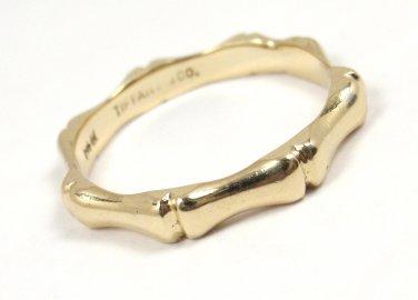 RARE Vintage Tiffany & Co 14K Yellow Gold 2.7mm Bamboo Wedding Band Ring Size 5