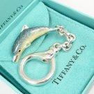 Rare Vintage Tiffany & Co Sterling Silver Enamel Dolphin Key Ring Keychain Italy w/box