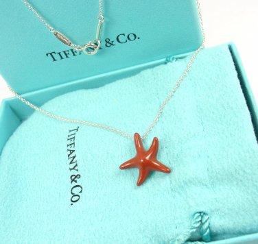 Rare Tiffany & Co Peretti Sterling Silver Red Jasper Starfish Chain Necklace w/box