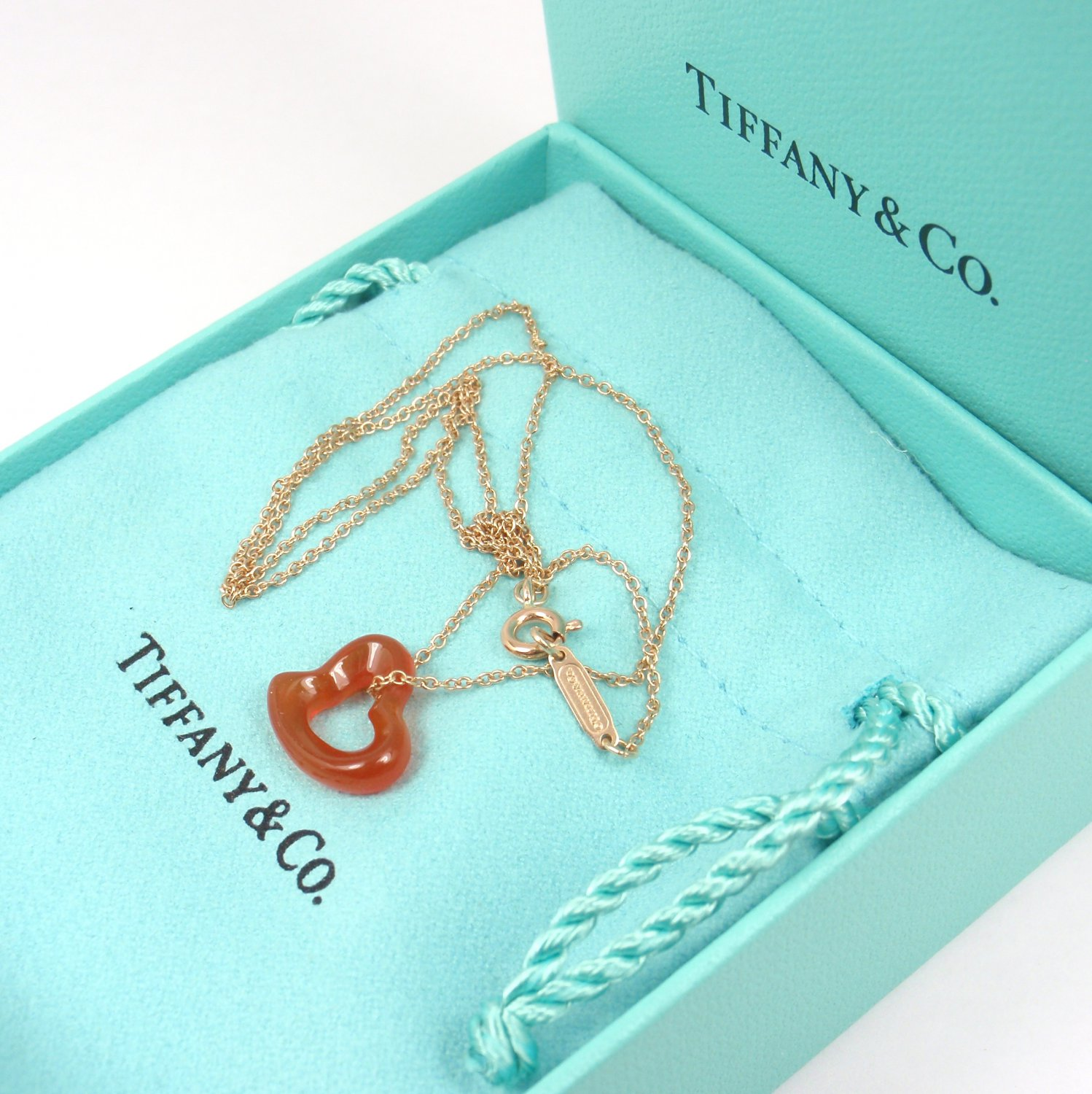 "Rare Tiffany & Co Peretti Carved Carnelian Open Heart 18K Gold Chain Necklace 16"" w/box"
