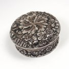 RARE Antique Tiffany & Co Makers E.Moore Sterling Silver Floral Repousse Pill Box
