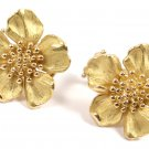 Rare Vintage Tiffany & Co 18K Yellow Gold Dogwood Flower Wild Rose Stud Earrings