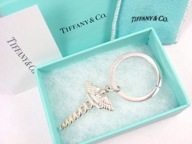 Rare Vintage Tiffany & Co Sterling Silver Caduceus Medical Doctor Key Ring Keychain