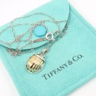 Rare Vintage 1993 Tiffany & Co Sterling Silver 18K Gold Scarab Pendant Necklace w/box