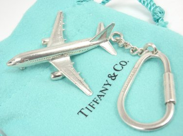 Rare Vintage Tiffany & Co Sterling Silver Airplane Key Ring Keychain Germany