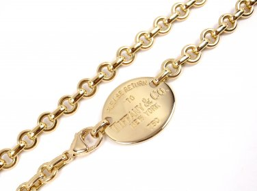 """$8500 Tiffany & Co Return To 18K Yellow Gold Oval Tag Chocker Necklace 15.5"""" 40g"""