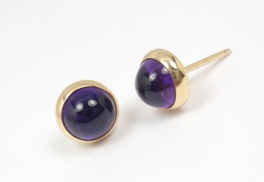 Vintage Tiffany & Co Larter & Sons 14K Yellow Gold Cabochon Amethyst Stud Earrings