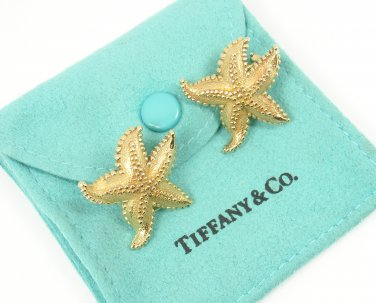 Rare Vintage Tiffany & Co 18K Yellow Gold LARGE Textured Starfish Earrings