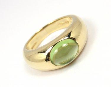 Rare Vintage Tiffany & Co 18K Gold Cabochon Peridot Ring ITALY Size 6-1/4