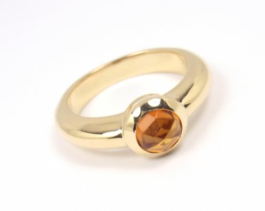 Rare Vintage Tiffany & Co 18K Gold Faceted Citrine Ring France Size 6.5