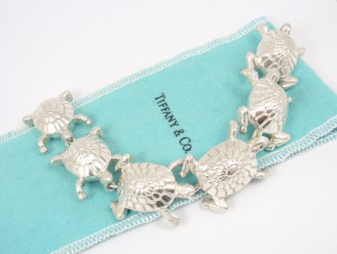 "Rare Vintage Tiffany & Co Sterling Silver Turtle Tortoise Bracelet 7"""