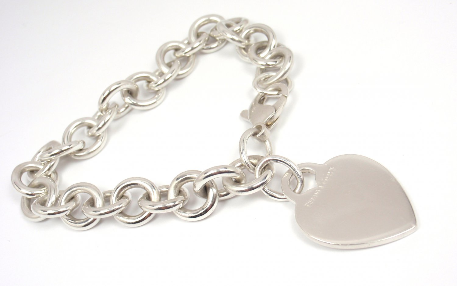 """Authentic Tiffany & Co Sterling Silver Heart Tag Charm Bracelet 7.5"""""""